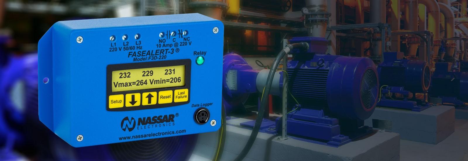 FaseAlert-3 de Nassar Electronics.  Protege motores y equipos contra fallas de voltajes